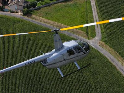 Covigneron survol vignoble hélicoptère