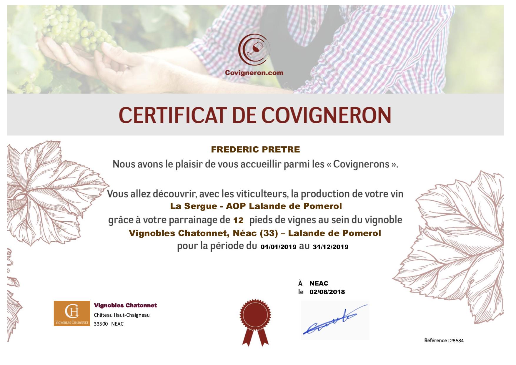 certificat covigneron