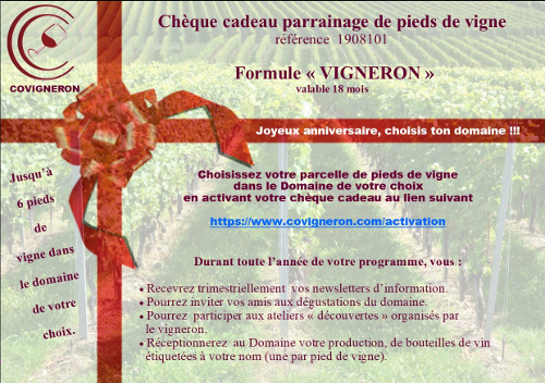 Chèque cadeau parrainage de pieds de vigne Covigneron